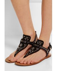 Valentino - Black Teodora Studded Suede And Leather Sandals - Lyst
