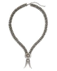 DANNIJO - Metallic 'anabel' Pendant Necklace - Clear Crystal/ Silver - Lyst