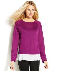 INC International Concepts - Purple Petite Layered-Look Sweater - Lyst