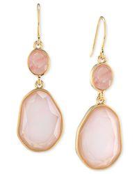 Carolee Pink Gold-Tone Double Drop Stone Earrings