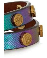 Tory Burch Green Studded Holographic Leather Wrap Bracelet