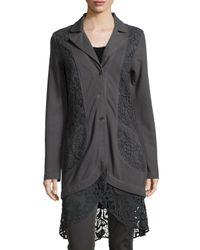 XCVI - Gray Paisley Crochet-Paneled Jacket - Lyst