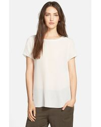 Eileen Fisher | Natural Ballet Neck Silk Crepe Top | Lyst