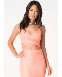 Bebe | Pink Jacquard Knit Crop Top | Lyst