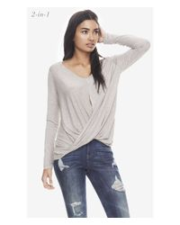 Express Gray One Eleven 2-In-1 Surplice Tee - Heathered