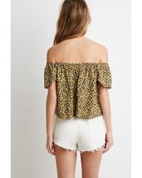 Forever 21 | Green Abstract Dot Off-the-shoulder Top | Lyst