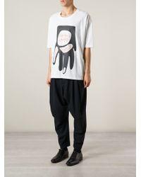 Henrik Vibskov White Hand Print T-shirt for men