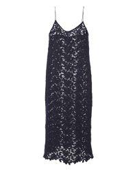 Katie Ermilio - Blue Floral Wool Lace Slip Dress - Lyst