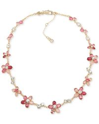 Carolee | Gold-tone Pink Floral Statement Collar Necklace | Lyst