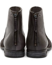 DIESEL | Black Aged Leather Chronar Boots for Men | Lyst