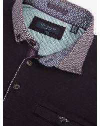 Ted Baker Red Bennam Woven Collar Polo Shirt for men