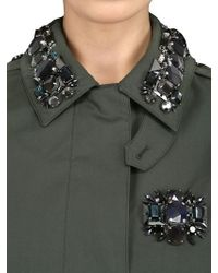 Burberry Prorsum - Green Embellished Cotton Blend Trench Coat - Lyst
