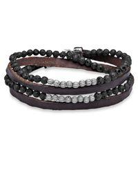Platadepalo Brown Silver Lava & Leather Bracelet
