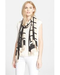 kate spade new york - Natural 'Window Panes' Scarf - Lyst