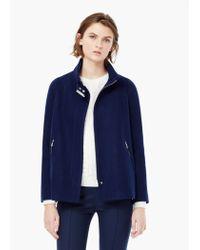 Mango - Blue Side-zip Wool Coat - Lyst