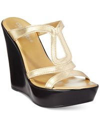 Callisto | Metallic Occitau Platform Wedge Sandals | Lyst