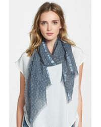 Eileen Fisher - Blue Embroidered Print Modal & Linen Scarf - Lyst