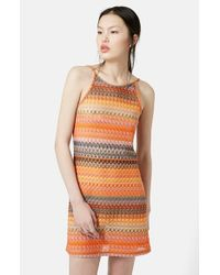 TOPSHOP | Orange Crochet Lace Tunic Dress | Lyst