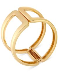 T Tahari | Metallic Gold-tone Open Hinge Bangle Bracelet | Lyst