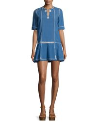 Étoile Isabel Marant - Blue Relly Short-sleeve Embroidered Dress - Lyst
