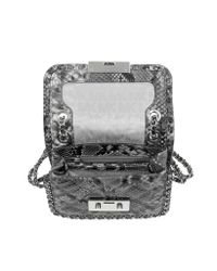 Michael Kors - Gray Carine Steel Grey Quilted Embossed Python Leather Medium Shoulder Bag - Lyst