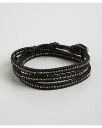 Chan Luu | Black Leather and Sterling Silver Bead Wrap Bracelet for Men | Lyst