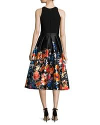 Carmen Marc Valvo Black Sleeveless Combo Floral Midi Cocktail Dress