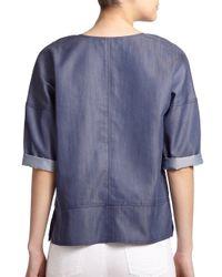 Vince - Blue Half-Placket Pullover Top - Lyst