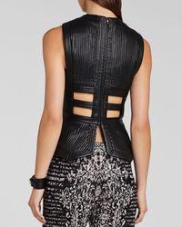 BCBGMAXAZRIA Black Bcbg Max Azria Top Munson Faux Leather Cutout