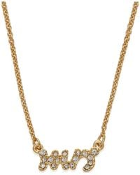 kate spade new york | Metallic Gold-tone Crystal Pave Mrs. Pendant Necklace | Lyst