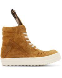 Rick Owens | Yellow Mustard Suede Geobasket High_top Sneakers for Men | Lyst