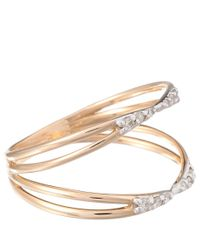 Kismet by Milka - Metallic Rose Gold Diamond Lumiere Double Row Ring - Lyst