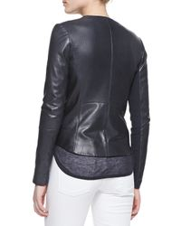 Vince - Black Perforated Leather Zip Jacket - Lyst