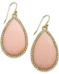 kate spade new york | Pink 14k Gold-plated Pavé Faceted Teardrop Earrings | Lyst