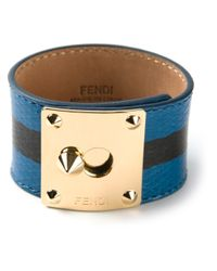 Fendi - Blue Chunky Striped Bracelet - Lyst