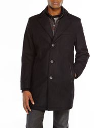 Cole Haan | Black Wool Overcoat for Men | Lyst
