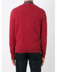 Eleventy - Red V-neck Cardigan for Men - Lyst