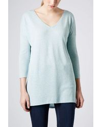 TOPSHOP - Blue Long Sleeve Oversized Top - Lyst