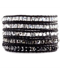 Chan Luu - Metallic Crystal Cal Mix Wrap Bracelet On Natural Black Leather - Lyst