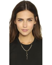 Rebecca Minkoff Metallic Crystal Dainty Stone Y Necklace - Gold/clear