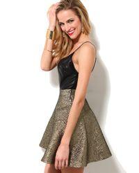 AKIRA | Metallic Skirt Spaghetti Strap Dress | Lyst