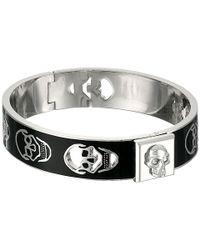 Alexander McQueen - Black Pierced Skull Bangle - Lyst