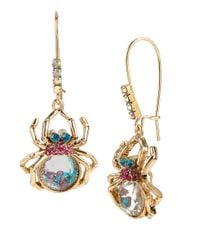 Betsey Johnson | Multicolor Spider Lux Shaky Bead Drop Earrings | Lyst