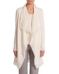 St. John - Natural Mila Fringed Wool-blend Knit Topper - Lyst
