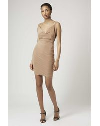 TOPSHOP - Natural Cowl Neck Slinky Mini Dress By Rare - Lyst