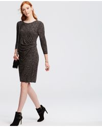 Ann Taylor | Gray Petite Heathered Ruched Jersey Sheath Dress | Lyst