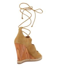 Tory Burch Natural Raya Suede Lace-up Wedge Sandal