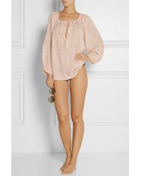Melissa Odabash Pink Talitha Embroidered Voile Top