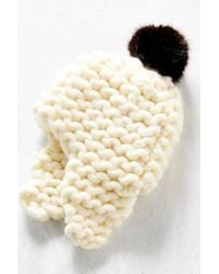 Urban Outfitters | White Faux Fur Pompom Ear Flap Beanie | Lyst