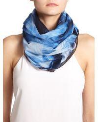 Givenchy - Blue Flames Print Cotton Scarf - Lyst